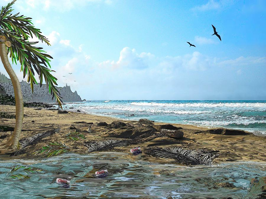 Seascape Digital Art - The Beach by Tony Rodriguez