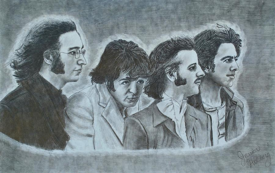 The Beatles Drawing - The Beatles  by Jessica Hallberg
