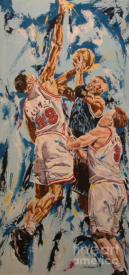 Basketball Painting - The Block by Debbie Sampson