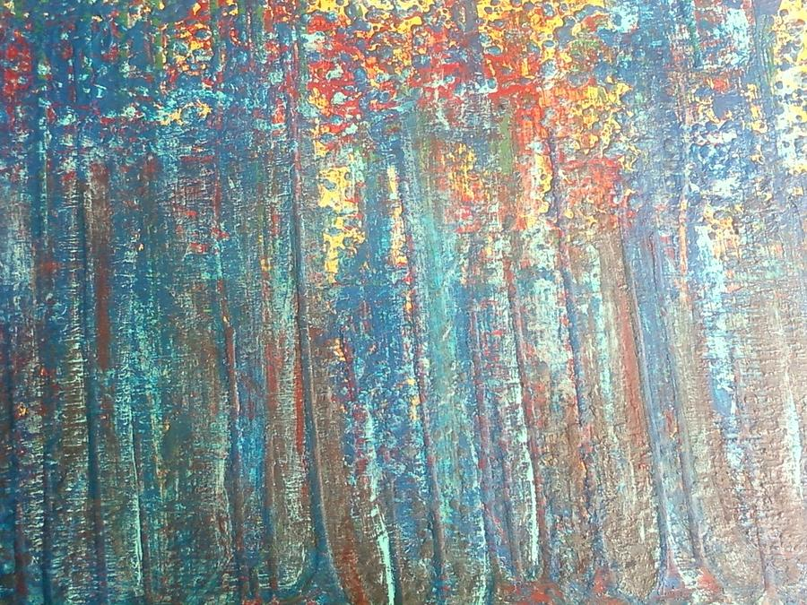Culture Painting - The Blue Forest by Pradeep Gupta