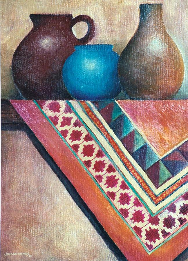 Jars Painting - The Blue Jar IIi by Jun Jamosmos