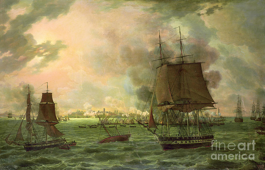 The Painting - The Bombing Of Cadiz By The French  by Louis Philippe Crepin