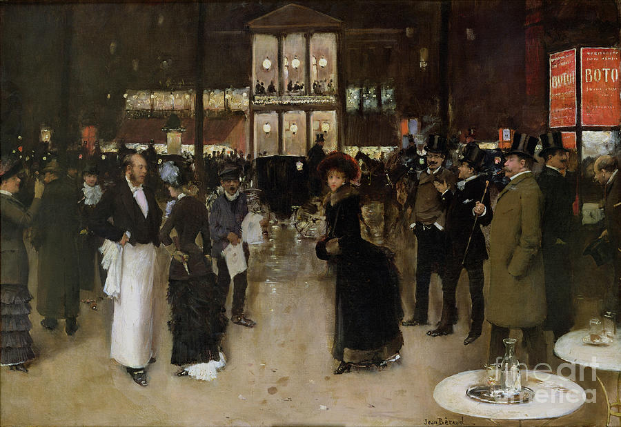 The Boulevard At Night Painting - The Boulevard At Night by Jean Beraud