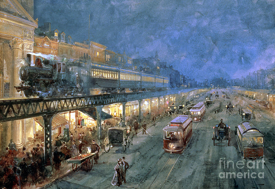 The Bowery At Night Painting - The Bowery At Night by William Sonntag