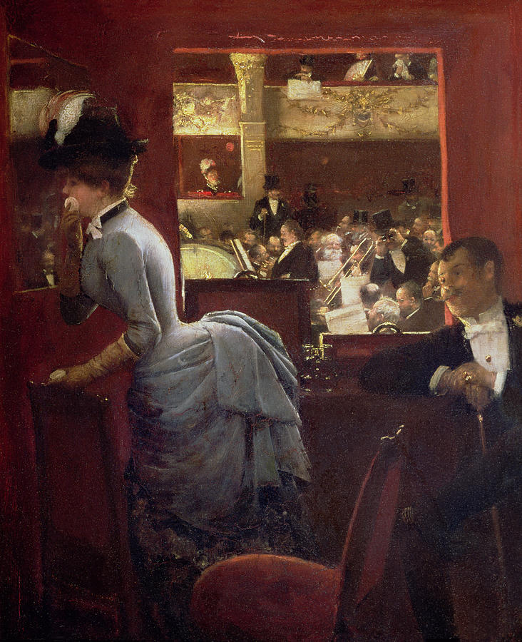The Box By The Stalls Painting - The Box By The Stalls by Jean Beraud