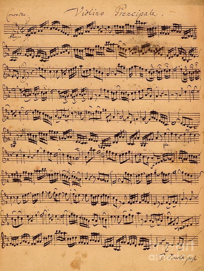 Music; Musician; Score; Composition; Composer; Classical Music; Baroque; Notes; Note; Notation; Handwritten; Manuscript; Handwriting; First Violin Drawing - The Brandenburger Concertos by Johann Sebastian Bach