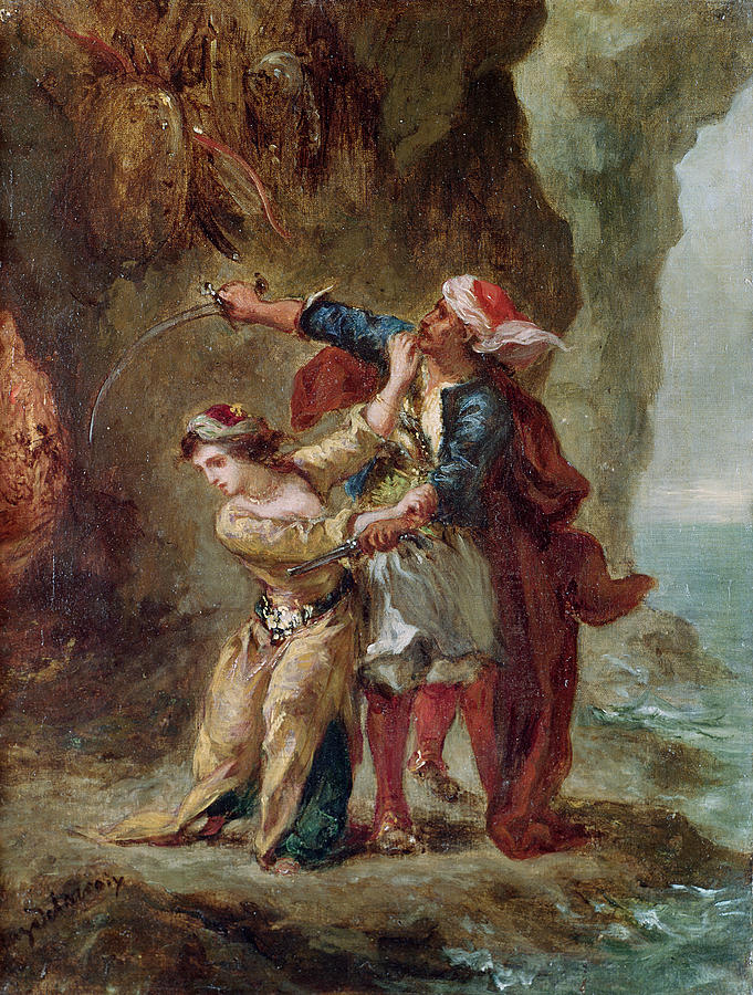The Painting - The Bride Of Abydos by Ferdinand Victor Eugene Delacroix