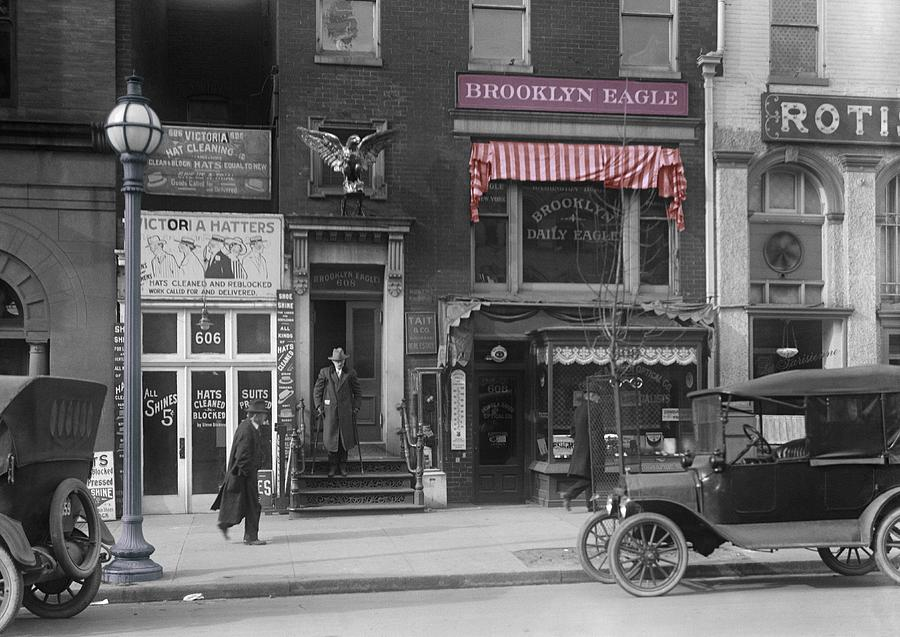 Brooklyn Eagle New York Nyc Manhattan Vintage Bw Colored Color Colorful Century 20th Twenties Golden Times Oldtimer Street Men Man  Black White Car Ford Street Photograph - The Brooklyn Eagle by Steve K