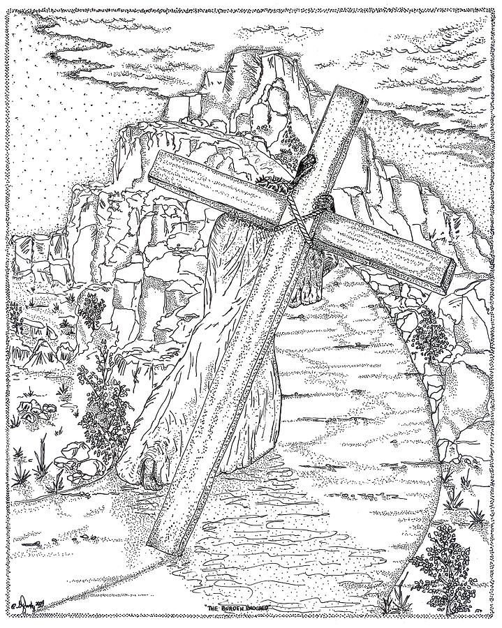 Jesus Christ Drawing - The Burden Endured by Glenn McCarthy Art and Photography
