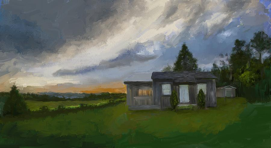The Cabin On The Hill Digital Art