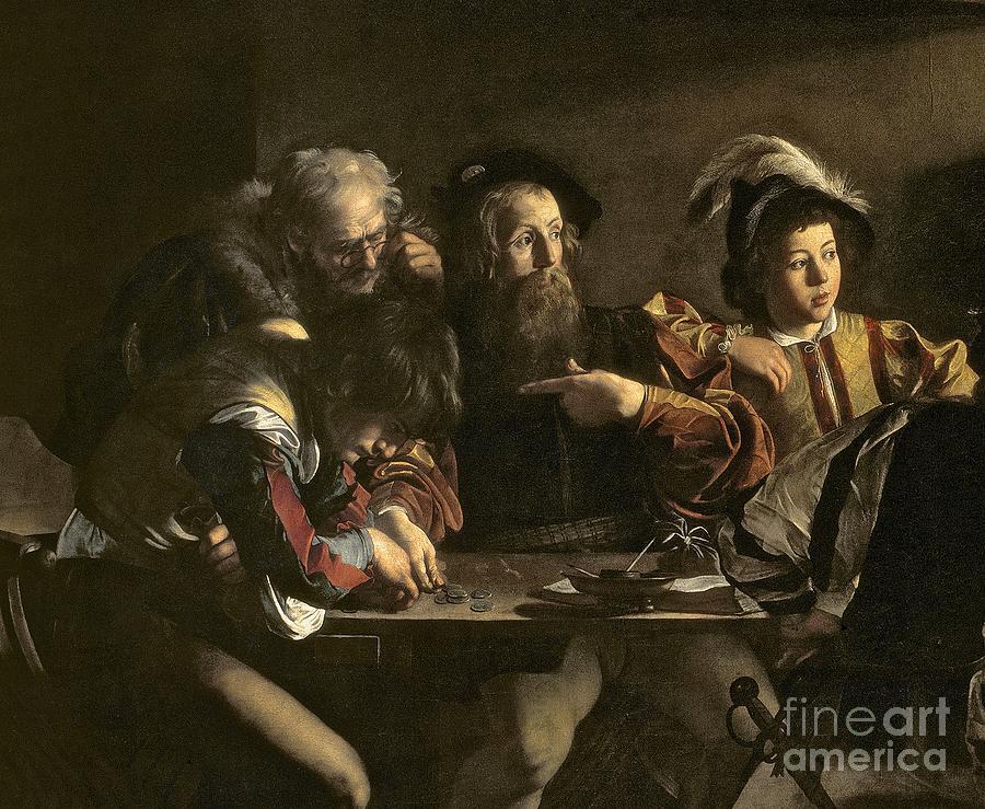Chiaroscuro; Baroque; Interior; Table; Tax Collector; Saint; Apostle; Disciple; Pointing Painting - The Calling Of St. Matthew by Michelangelo Merisi da Caravaggio