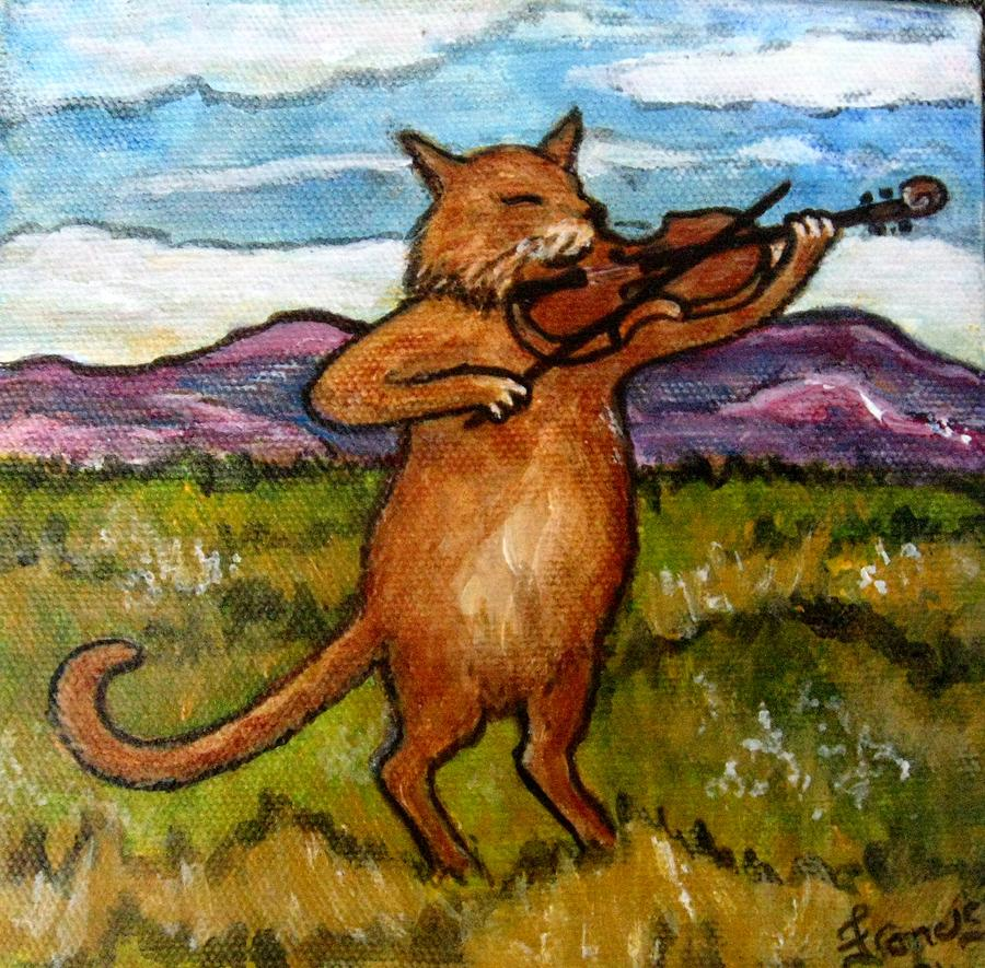 Cat Painting Painting - The Cat And The Fiddle by Frances Gillotti