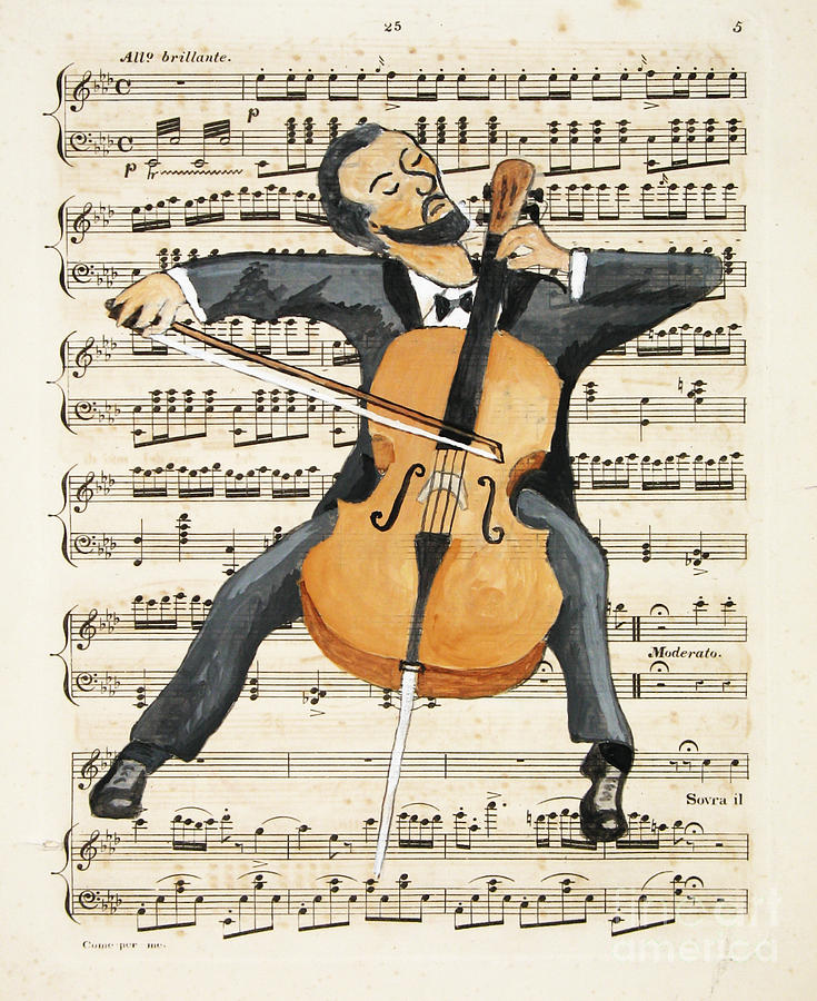 Cello Painting - The Cellist by Paul Helm