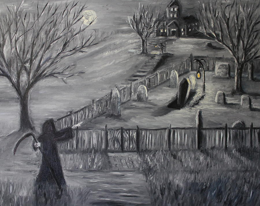 Halloween Painting - The Cemetary by Daniel W Green