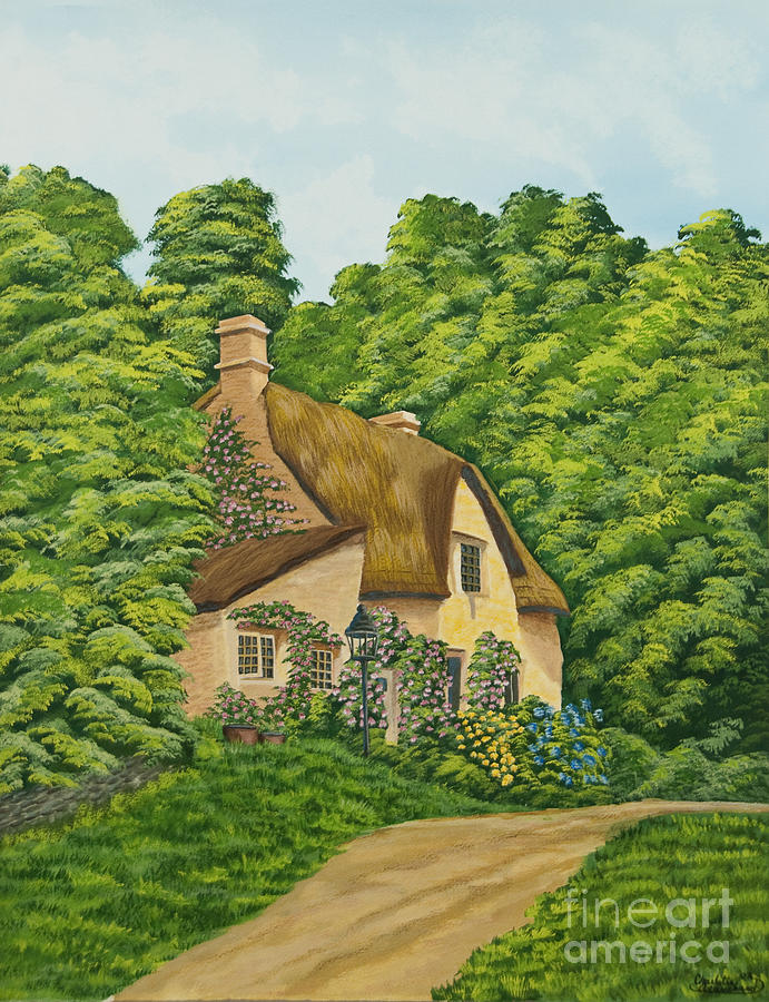Cottage Painting - The Charm Of Wiltshire by Charlotte Blanchard