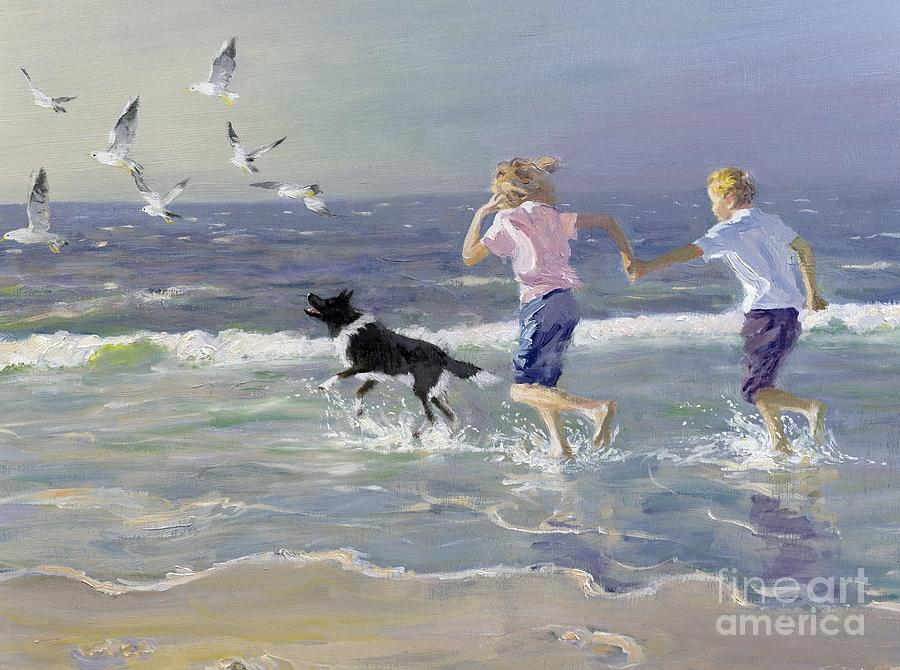 Seaside; Children; Playing; Male; Female; Girl; Boy; Paddling; Pet Dog; Seagulls; Seashore; Sea; Beach; Summer; Holiday; Vacation; Fun; Holding Hands; Splashing; Coastal; Coast; Running; Seagull; Sand; Wave; Waves; Barefoot Painting - The Chase by William Ireland
