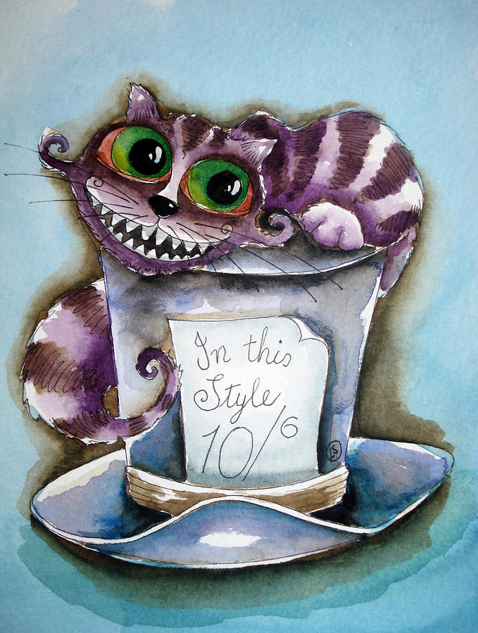 Cheshire Cat Purple Painting - The Chesire Cat by Lucia Stewart