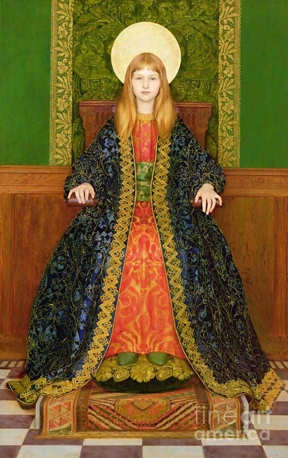Throne; Girl; Pre-raphaelite; Portrait; Female Painting - The Child Enthroned by Thomas Cooper Gotch