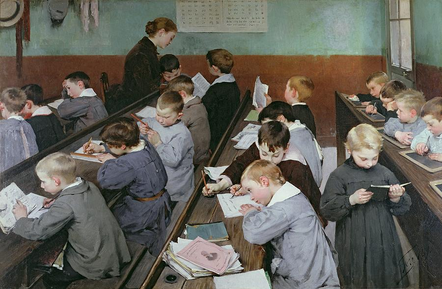 The Painting - The Childrens Class by Henri Jules Jean Geoffroy