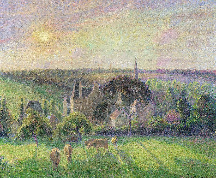 The Painting - The Church And Farm Of Eragny by Camille Pissarro