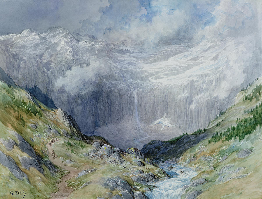 The Cirque At Gavarnie Painting by Gustave Dore