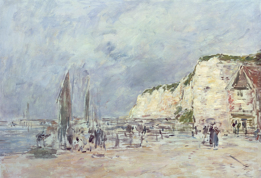 The Painting - The Cliffs At Dieppe And The Petit Paris by Eugene Louis Boudin