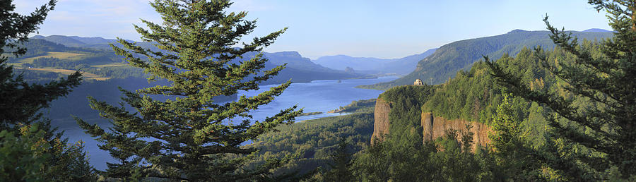 Crown Point Photograph - The Columbia River Gorge Vista House Panorama. by Gino Rigucci