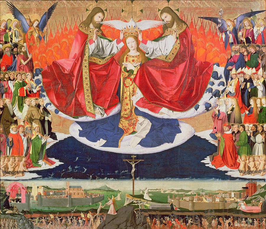 The Painting - The Coronation Of The Virgin by Enguerrand Quarton