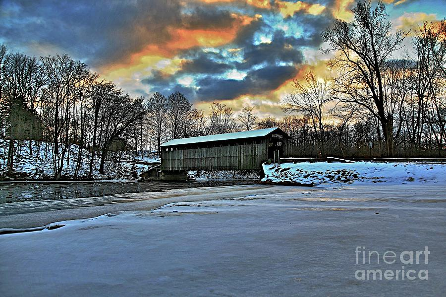 Covered Bridge Old Lumber 1870s Art Snow Winter Landscape Artistic Photograph - The Covered Bridge by Robert Pearson
