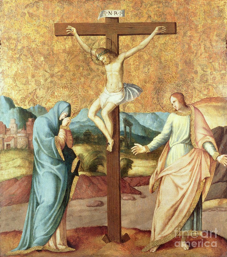 Landscape; Grieving Painting - The Crucifixion With The Virgin And St John The Evangelist by French School