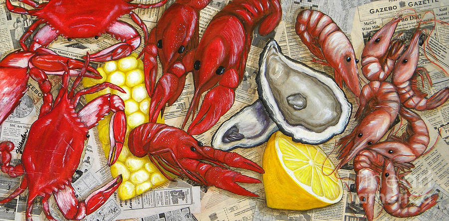Seafood Painting - The Daily Seafood by JoAnn Wheeler