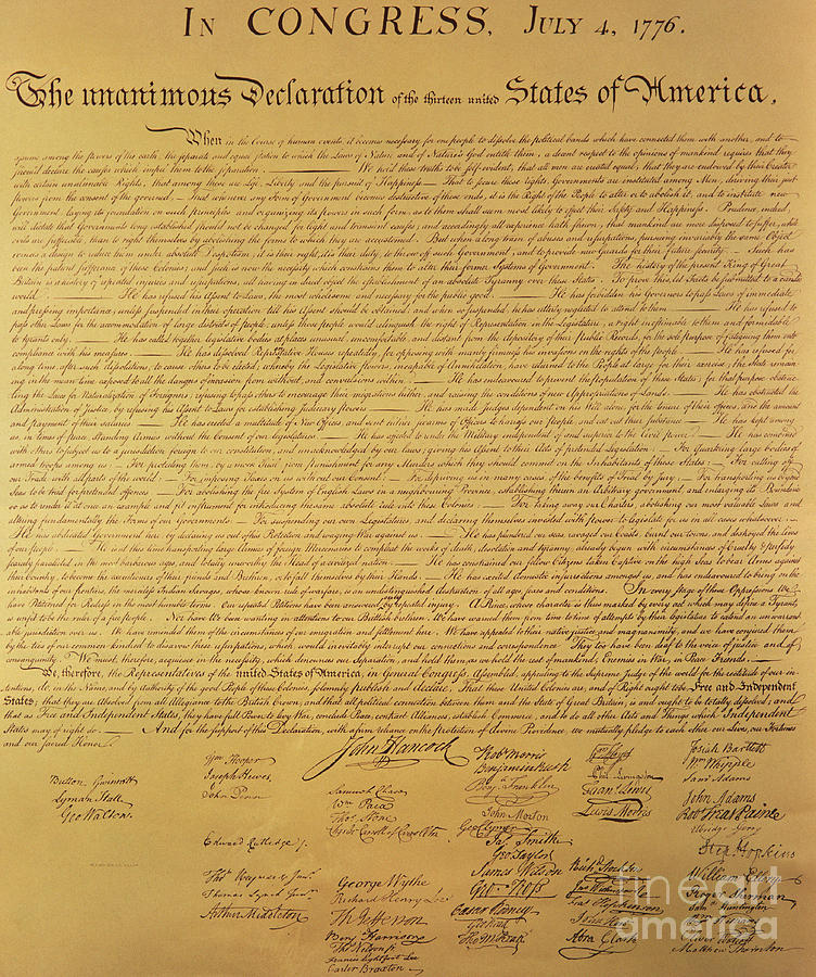 Declaration Of Independence Of The 13 United States Of America Of 1776 Painting - The Declaration Of Independence by Founding Fathers