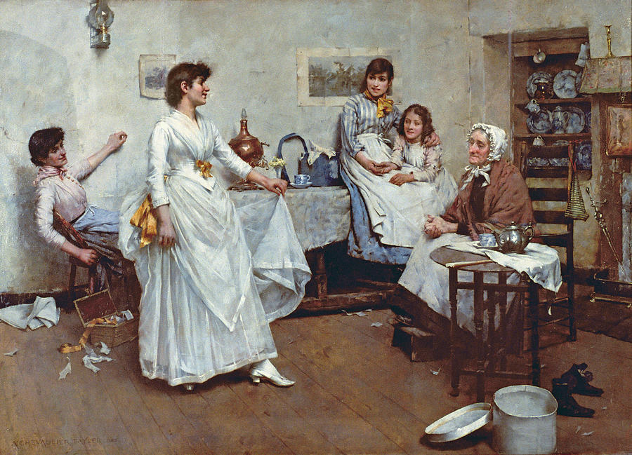 The Dress Rehearsal Painting - The Dress Rehearsal by Albert Chevallier Tayler