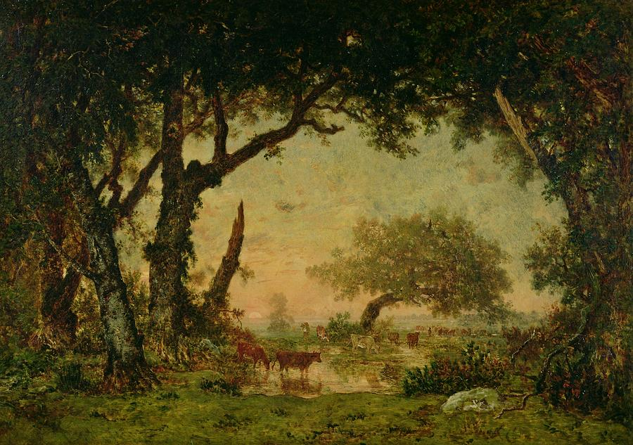 The Painting - The Edge Of The Forest At Fontainebleau by Theodore Rousseau