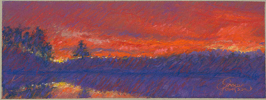Landscape Painting - The End Of Sunset by Grace Goodson
