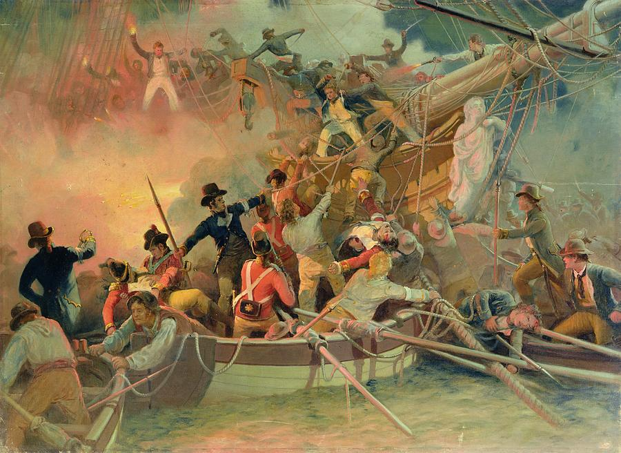 The English Navy Conquering A French Ship Near The Cape Camaro Painting - The English Navy Conquering A French Ship Near The Cape Camaro by English School