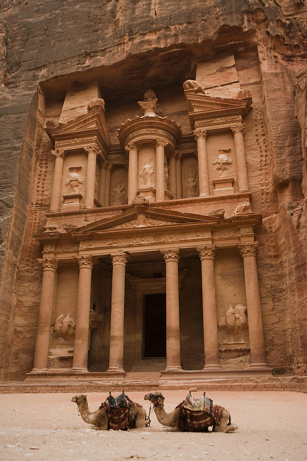 Petra Photograph - The Famous Treasury With Two Camels by Taylor S. Kennedy