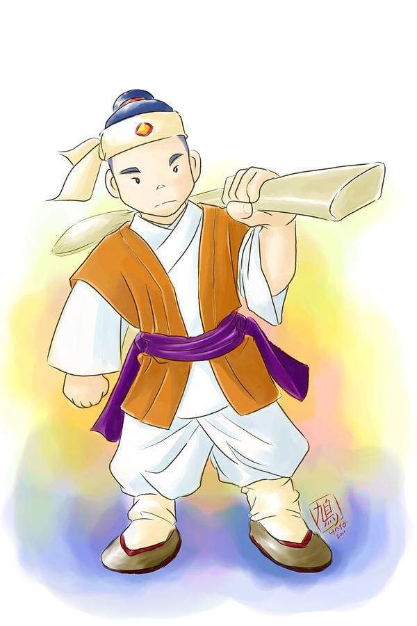 Chinese Ferryman Fighter Warrior Kungfu Painting - The Ferryman by Taisho Hatonao