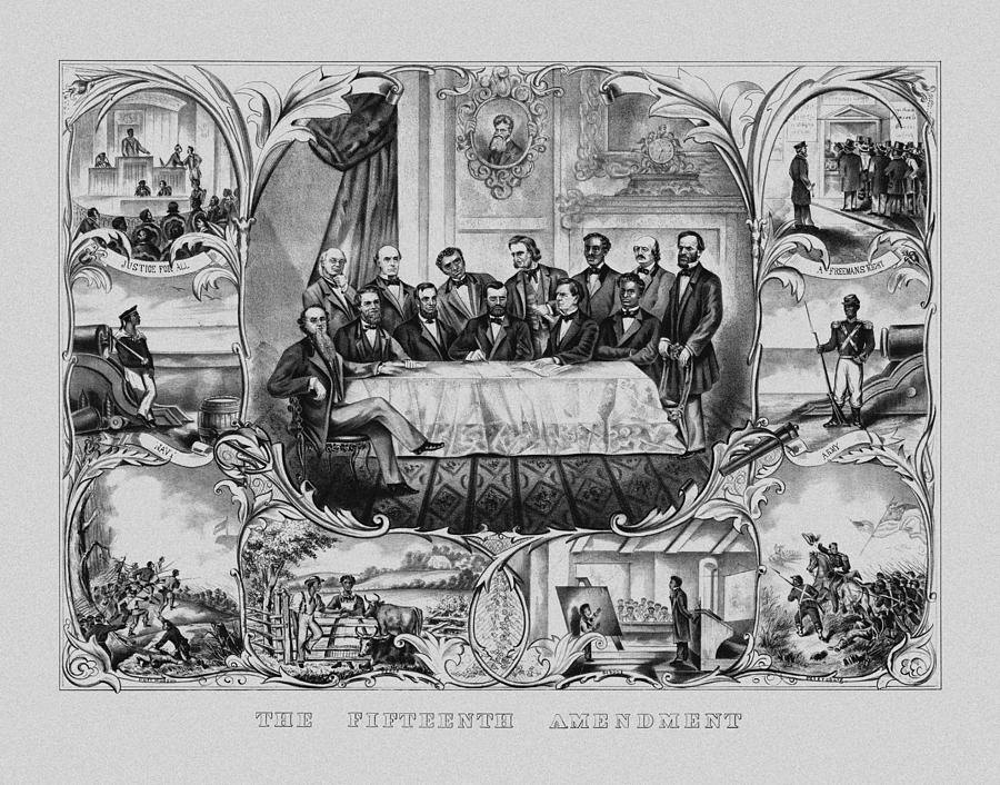 15th Amendment Drawing - The Fifteenth Amendment  by War Is Hell Store