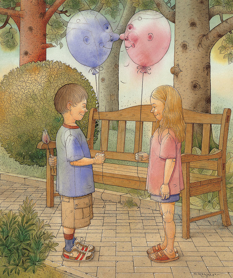 Love Amour Kiss Date Park Garden Flirt Painting - The First Date by Kestutis Kasparavicius