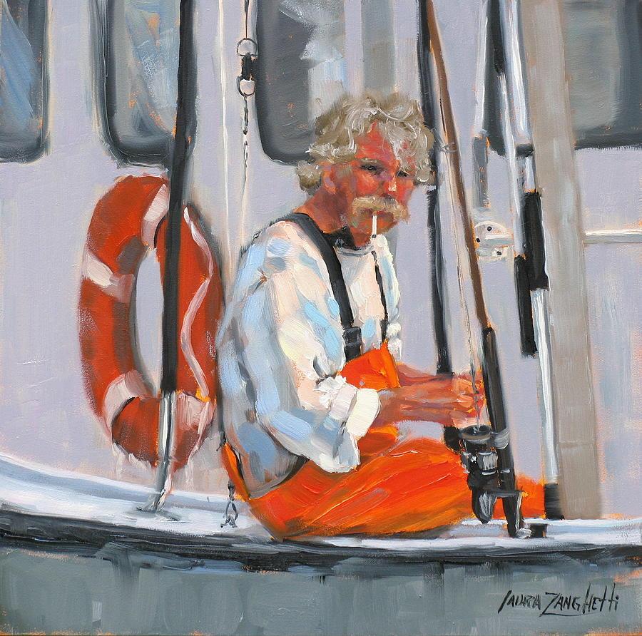 Fisherman Painting - The Fisherman by Laura Lee Zanghetti