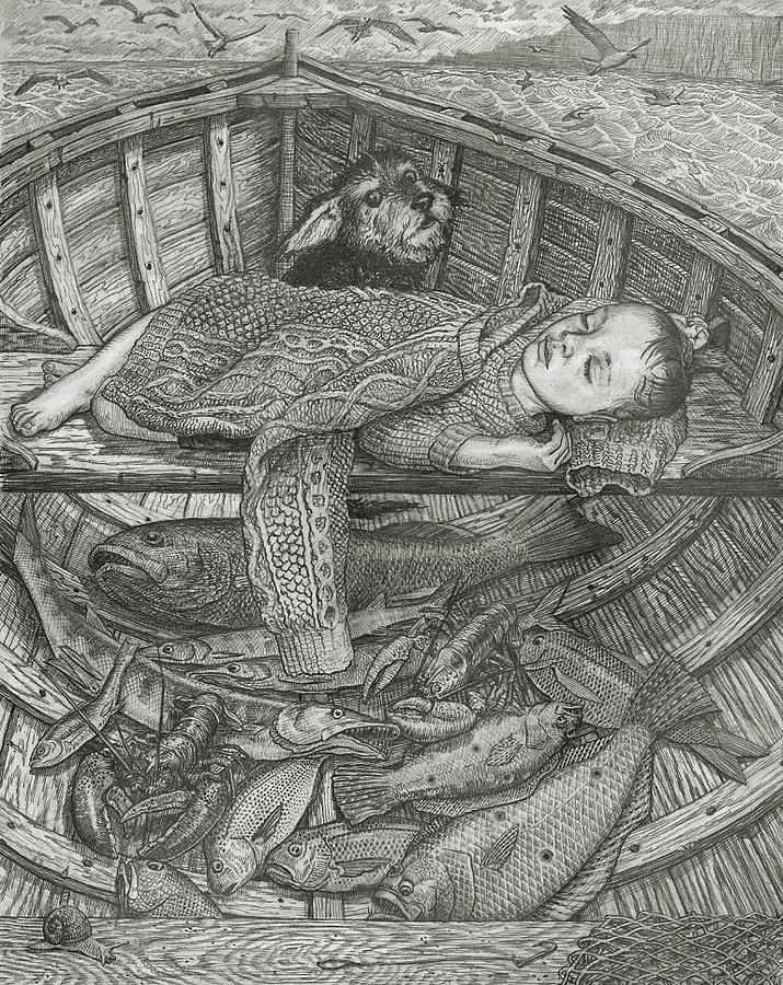 Pencil Drawing - The Fishermans Child by Fremont Thompson
