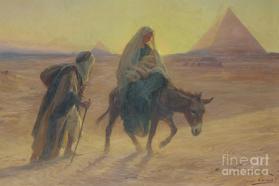 The flight into egypt painting by eugene alexis girardet for Egyptian fresco mural painting