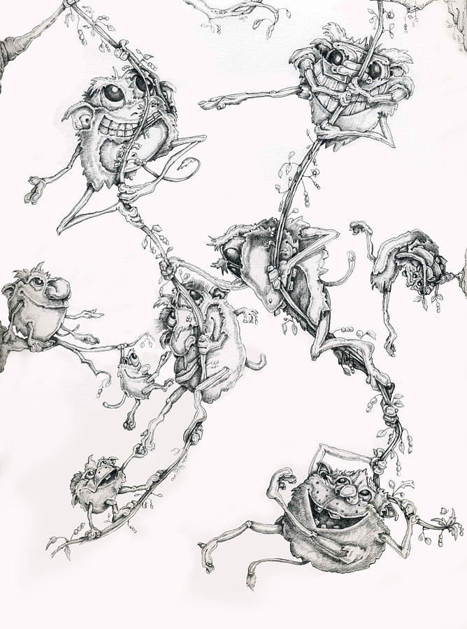 Philip Straub Drawing - The Flying Puffballs by Philip Straub