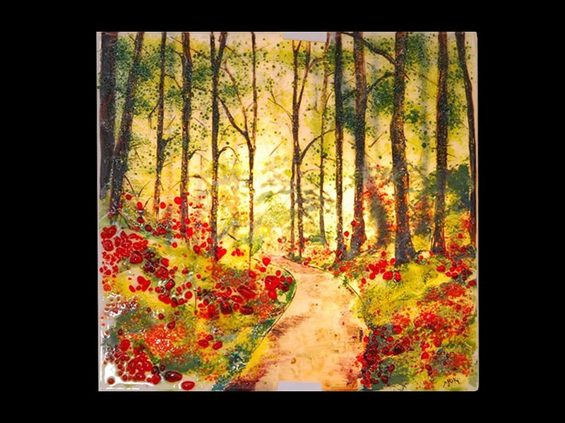 Landscape Glass Art - The Forest Way by Osnat Menshes
