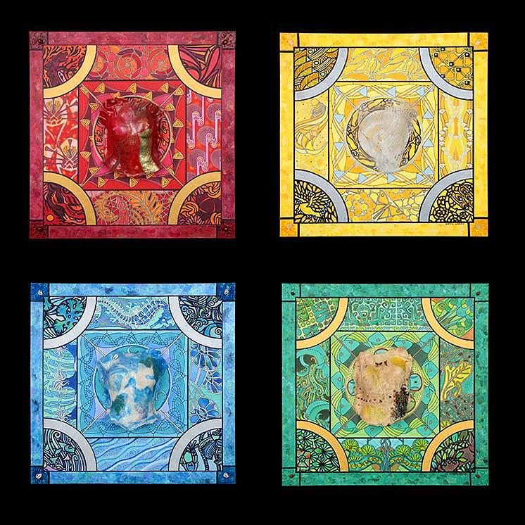 Four Elements Art : The four elements fire air water earth painting by