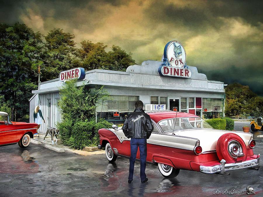 The fox diner digital art by rat rod studios for Diner artwork