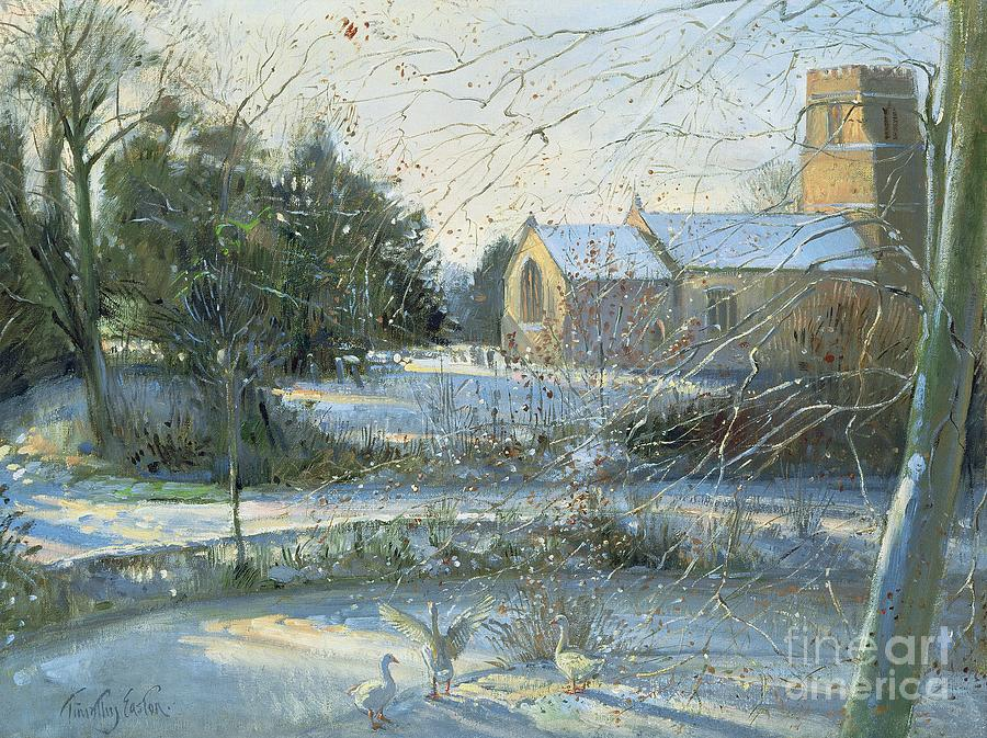 Church; Suffolk; East Anglia; Village; Tower; Snow; Winter; Landscape; Geese; Frost Painting - The Frozen Moat - Bedfield by Timothy Easton