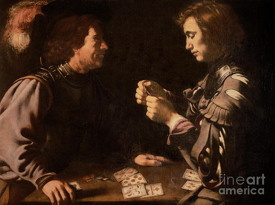 The Gamblers (oil On Canvas) By Michelangelo Caravaggio (1571-1610) Card Playing; Coins; Plume; Gambler; Pack Of Cards; Trickster; Competition; Competitive; Chiaroscuro; Gambling Painting - The Gamblers by Michelangelo Caravaggio