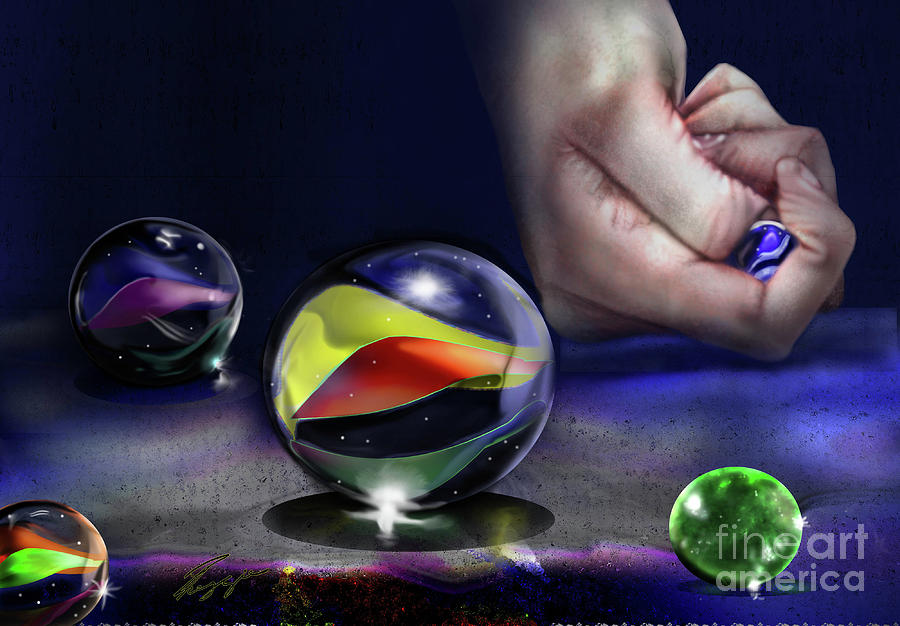 Glass Marbles Game : The game of marbles painting by reggie duffie